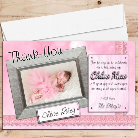 10 Personalised Girls Birth / Christening / Baptism Thank you PHOTO Cards N201
